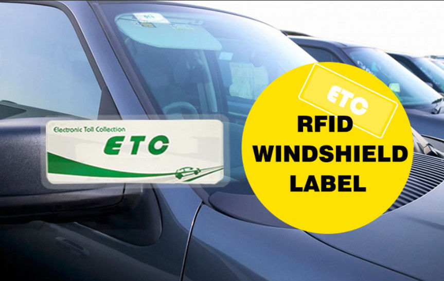 Coated Paper RFID Windshield Labels / RFID Vehicle Label 860 - 960MHZ